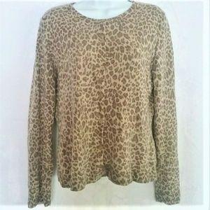 Garnet Hill Cashmere Leopard Print Cardigan Medium